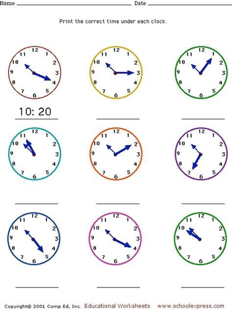 clock worksheets nearest 5 minutes 5 minute math drills 2nd grade math worksheets drills5
