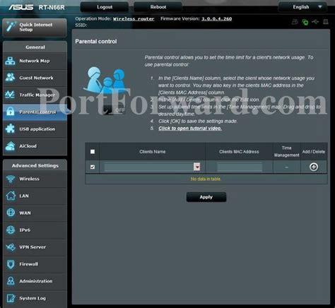 asus rt nr parental control router screenshot portforwardcom