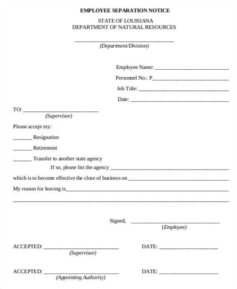 Notice Forms In Pdf Separation Notice Template