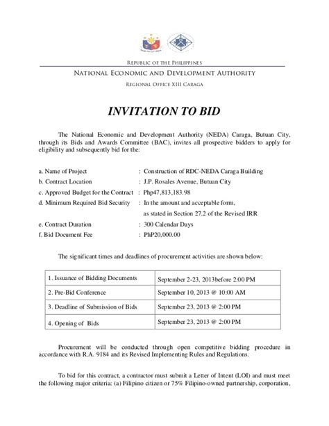 Invitation To Bid Invitation To Bid Template
