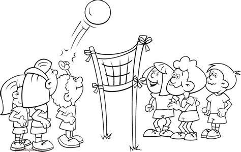 imagenes de niños jugando en grupo para colorear dibujos de voleibol para colorear