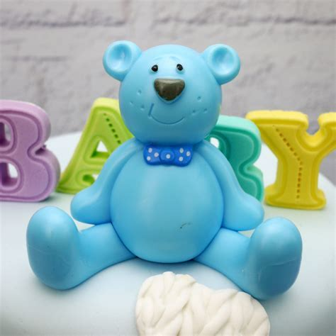 Blue Teddy Bear Cake Topper