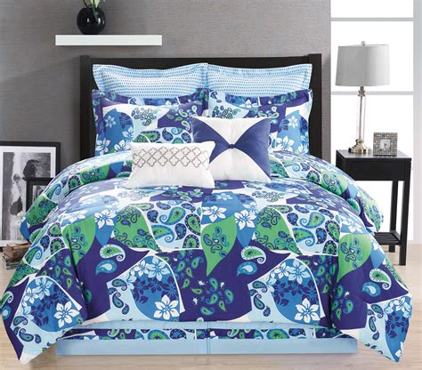 8 piece paisley blue green white comforter set