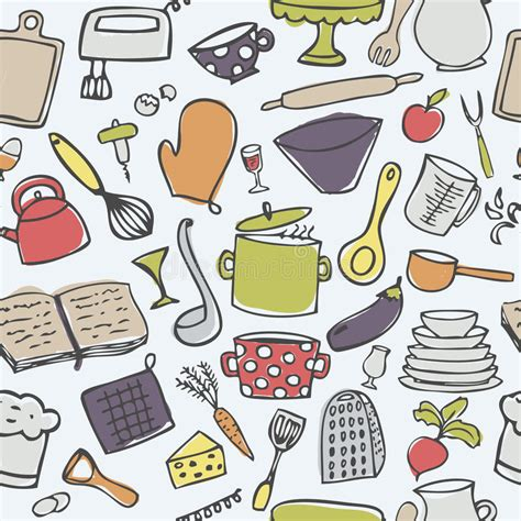 cute kitchen pattern cute kitchen seamless vector pattern stock vector