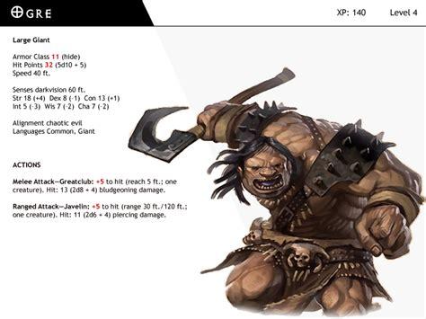 dnd next monster cards ogre by dizman on deviantart