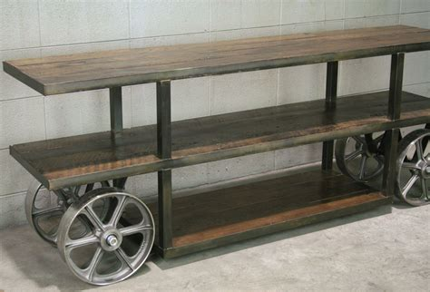 Trollet Leather buy a crafted industrial trolley cart media console
