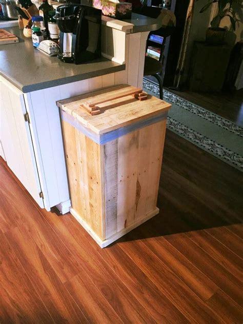 diy pallet trash can cabinet diy wood pallet trash bin