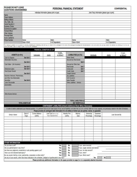 Personal Financial Statement Worksheet by 12 Personal Financial Statement Sles Templates Pdf
