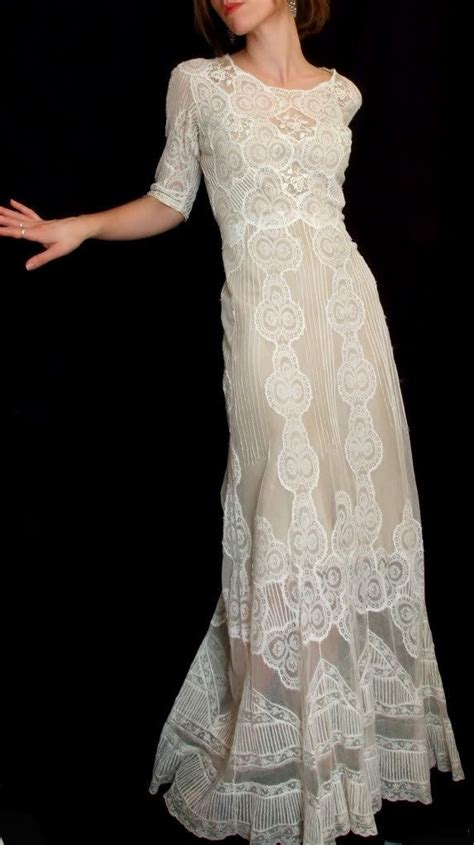 1920s vintage floor length beaded wedding dress antique vintage lace embroidered sheer 1920s