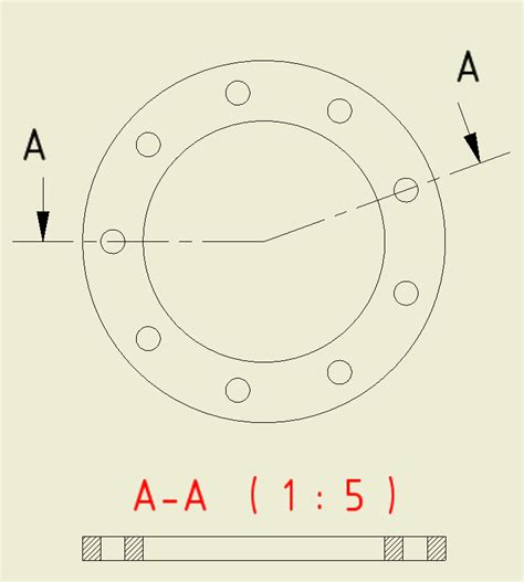 schnitt technische zeichnung benutzerdefinierte ansicht f 252 r schnitt durch bohrung