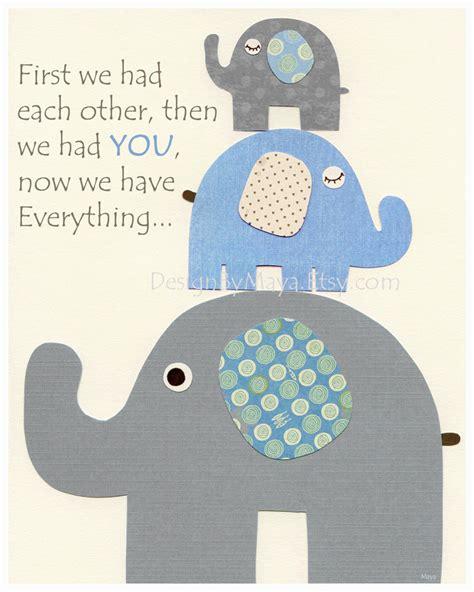 Wall Decor For Baby Boy Nursery Baby Boy Nursery Decor Nursery Print Baby Elephant We