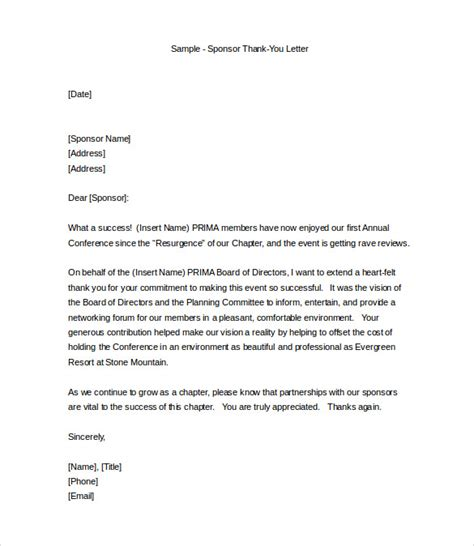 Thank You Letter To Sponsor professional thank you letter 9 free documents