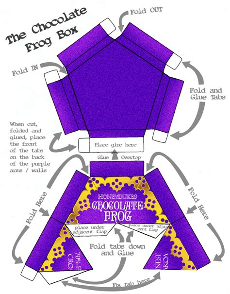 Chocolate Frog Box Template With Cards by Honeydukes Chocolate Frogs