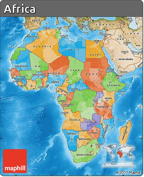 africa map sea free political map of africa satellite outside