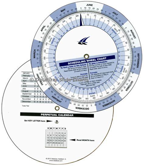 Date Duration Calendar Perpetual Scheduling Wheel Calendar Template 2016