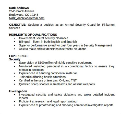 basic resume format for security guard 8 security guard resume templates to sle templates