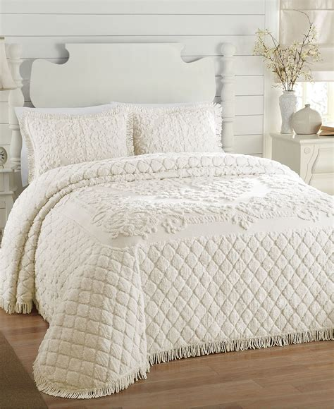 queen bed spreads josephine chenille queen bedspread white ebay