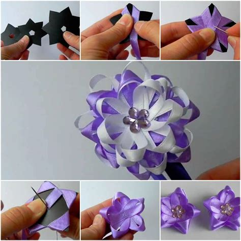 how to make a ribbon bow for a card diy easy satin ribbon flower bow home diy