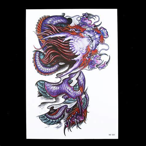 ts 118 2015 elastic fake temporary tattoo sleeve germany popular purple dragon tattoos buy cheap purple dragon