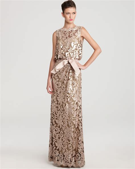 Sequin Sash Tie Dress by Tadashi Shoji Gown Waist Tie Sequin Lace Bloomingdale S
