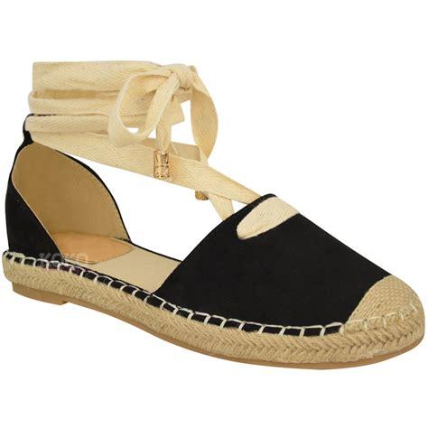 espadrilles shoes womens lace tie up low flat canvas espadrilles