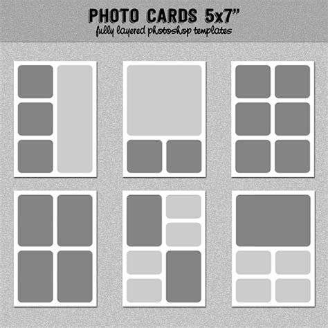6 Photo Cards Collage Templates 5x7 Quot Set 1 Instagram Collage Digitalbazaar On Artfire 5x7 Photo Collage Template