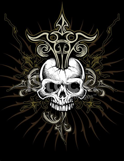 ornate skull design stock vector freeimages com