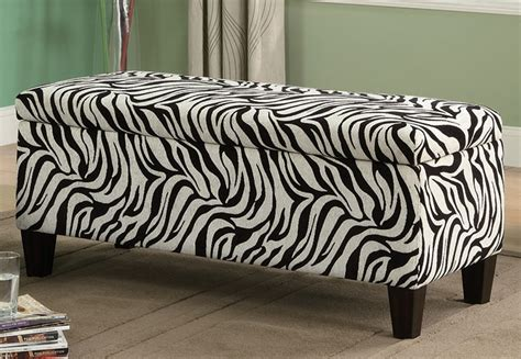 zebra print storage bench coaster 501083 3 piece storage bench and ottoman set