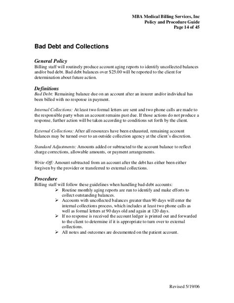 collection policy template billing policy procedure guide