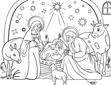 printable nativity coloring page free pdf download at