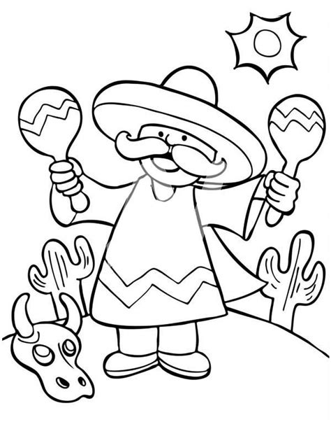 mexican girl coloring page a mexican man shaking two maracas at mexican fiesta