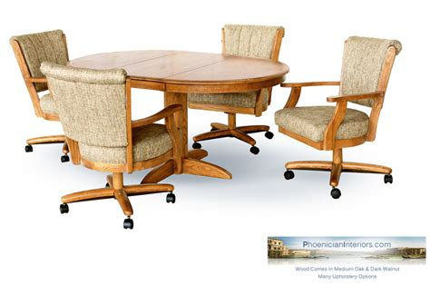 Dining Table With Caster Chairs Set Of 4 Dining Chairs On Casters Rollers With Solid Wood Oval Dining Table Set Ebay