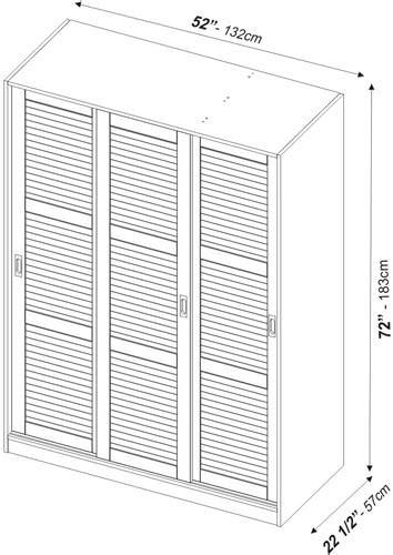 Standard Wardrobe Width - wardrobe 3 sliding doors java w louver doors by palace