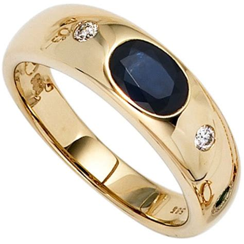 Safir Gold by Ring Damenring Safir Saphir Blau 2 Diamanten Brillanten