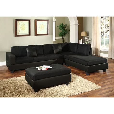 and black sectional venetian worldwide dallin black microfiber sectional