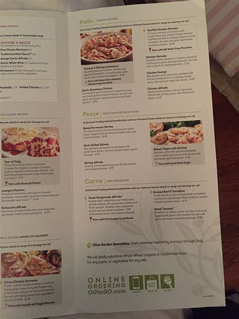 Oliva Garden Menu by Olive Garden Menu Prices 2017 Meal Items Details Cost