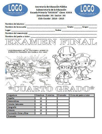 examen final preguntas abiertas quinto grado examen final del cuarto grado del ciclo escolar 2014