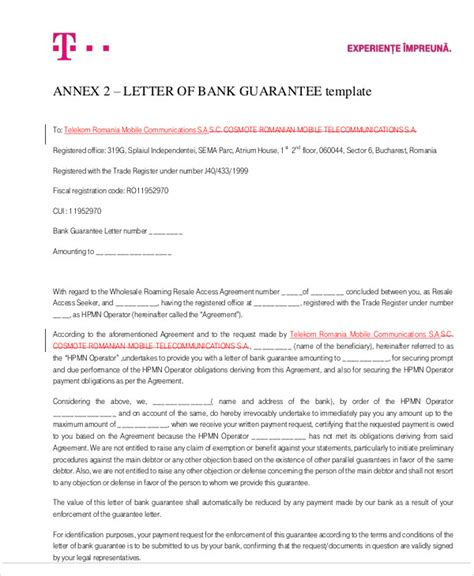 Guarantee Letter Loan guarantee letter