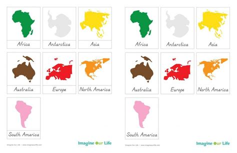 printable montessori montessori continents map quietbook with free 3 part