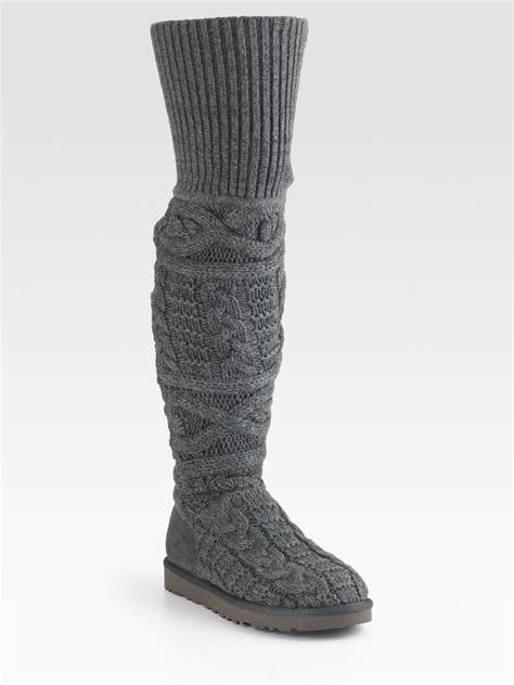 ugg cable knit boots ugg cable knit and suede the knee boots in gray