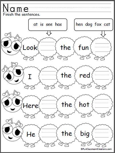 Kindergarten Sentence Building Worksheets by Caterpillar Sight Word Sentences Madebyteachers
