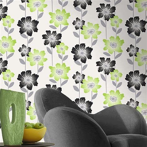 wallpaper lime green flowers coloroll margarita floral wallpaper lime green black