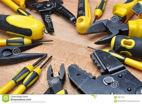 electrical installation materials tools for electrical installation stock photo