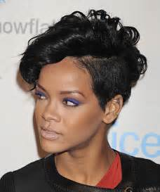 Rihanna short wavy alternative undercut hairstyle black