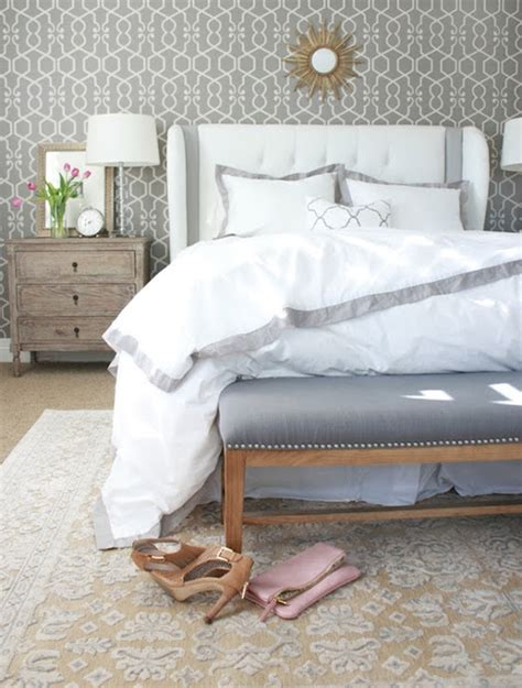 put your on my rug gray accent wall transitional bedroom j and j design