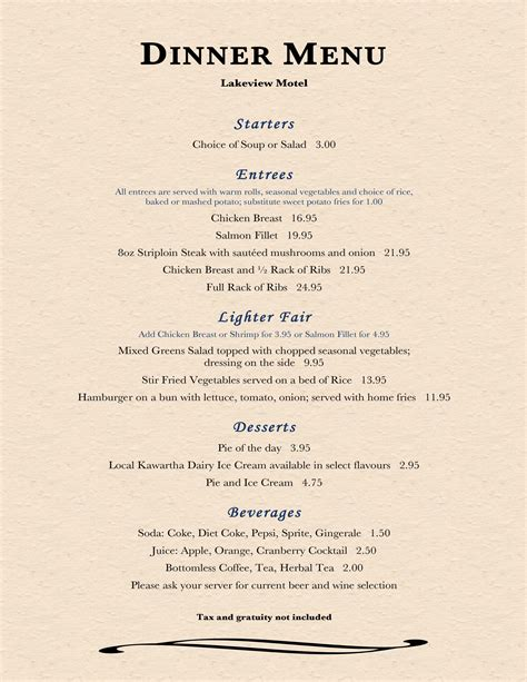 supper menus image gallery dining menu
