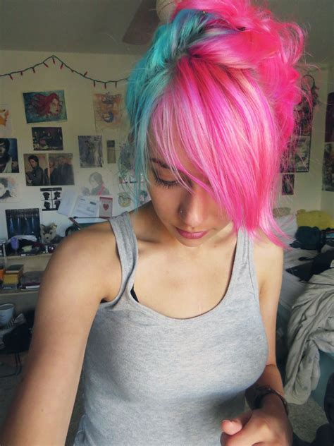 two colored hair best 25 blue and pink hair ideas on pink