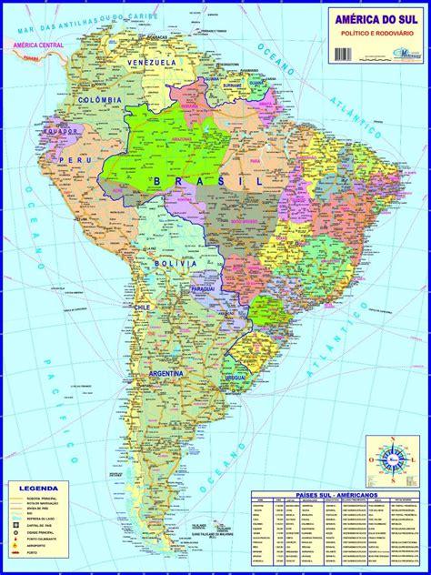 mapa a america do sul mapa da am 233 rica do sul pol 237 tico 89 x 117 cm frete 6