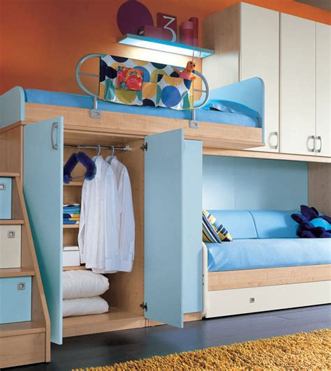 cool teen beds orange wall and sea blue color bunk beds furniture