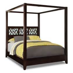 Canopy Bed Frame Wood Bedroom Brown Lacquer Mahogany Wood Canopy Bed Frame